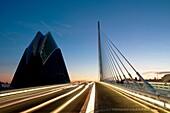 L´Assut d´Or bridge and the Agora at evening, City os Arts and Sciences. Valencia, Comunidad Valenciana, Spain.