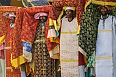 Ethiopia, Lalibela,Timkat festival, High priests carrying the church Tabots   Every year on january 19, Timkat marks the Ethiopian Orthodox celebration of the Epiphany  The festival reenacts the baptism of Jesus in the Jordan River  Wrapped in rich cloth