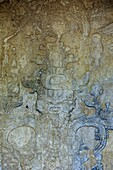 Relief carving depicting the World Tree in the Temple of The Foliated Cross in the Mayan city of Palenque, Chiapas, Mexico