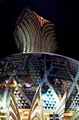 The neon lights of Casino Grand Lisboa in Macau China