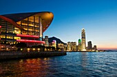The landmark Hong Kong Exhibition and Convention Centre on the shore of Victoria Harbour in Hong Kong SAR China