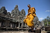 Monk in Temples of Bayon  Angkor site  Cambodia