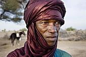 A Wodaabe-Bororo man for the annual Gerewol  Diffa  Sahel  Niger