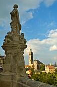 Statue and the church of Saint James in Kutna Hora Czech Republic EU