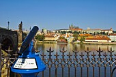 Binoculars looking over River Vltava towards Mala Strana and castle in central Prague Czech Republic EU