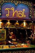 Oriental food stall at Camden Town market in London UK