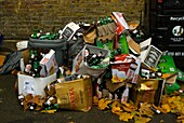 Empty Polish beer bottles and cardboard boxes in front of recycling bins Tooting London England UK Europe