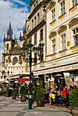 Terraces at Staromestske namesti the old town square in Prague Czech Republic Europe