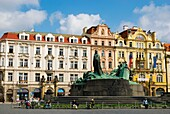 Jan Hus monument at Old Town Square in Prague Czech Republic Europe