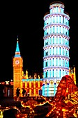 Chinese Lantern Festival in Toronto  Pisa tower and House of Parliament in London symbols of Italy and England  Colorful magnificent illumination glowing at night  Ontario Place, Toronto, Ontario, Canada 2008