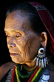 Closeup of an elderly Longneck woman  Approximately 300 Burmese refugees in Thailand are members of the indigenous group known as the Longnecks  The largest of the three villages where the Longnecks live is called Nai Soi, located near Mae Hong Son City