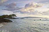 Coast area under clouded sky, Makena Landing, Maui, Hawaii, USA, America