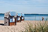 Roofed wicker beach chair at beach of Wohlenberg, Boltenhagen, Bay of Mecklenburg, Mecklenburg-Vorpommern, Germany