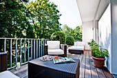 Terrace furniture on a balcony, Hamburg, Germany
