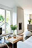 Modern living area with fireplace, Hamburg, Germany