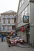Outdoor Seating at Dyvekes Vinkjeller Restaurant and Cafe Christian II, Bergen, Hordaland, Norway, Europe