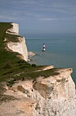 A collection of images going west from Eastbourne beach, Beachy Head chalk cliffs and lighthouse, Birling Gap erosion, Seven Sisters chalk cliffs, East Sussex, England