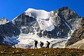 Hikers on the way to the Moiry hut passing Mt Pointes de Mourti, Pennine Alps, Valais, Switzerland
