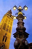 Giralda as seen from Virgen de los Reyes square  Seville, Andalusia, Spain