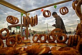 stall of simit bread in Eminonu square, Istanbul, Turkey