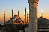 Mosque Sultan Ahmet Blue Mosque  At right Dome and minaret of Firuz Aga Mosque  Istanbul  Turkey