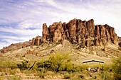 View of the Superstition Mountains from the picnic area  Superstition Mountains in Lost Dutchman State Park near Mesa, Arizona  The Superstition Wilderness area is managed by Tonto National Forest  Named by settlers after hearing Apache and Pima Indian lo