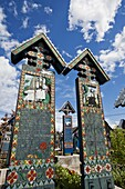 Merry Cemetery in Sapanta, Romania, maramures, is a world wide unique graveyard  the wooden crosses are painted and depict scenes from the life and death of the deceased  Often short texts full of humor tell stroies from the life of the dead  The merry ce