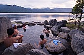 Lakeside outdoor rotemburo or onsen at Lake Akan in Hokkaido Japan