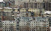 Many Soviet era concrete housing blocks in city of Petropavlovsk Kamchatsky in Kamchatka Russia