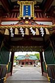 Ornate entrance gate to Hie Jingu Shinto Shrine in central Tokyo Japan