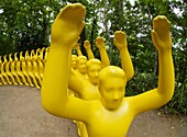 Yellow sculpture called ´You´re My Chair, I´m Yours´ by Shigeo Fukada at Sapporo Art Park in Hokkaido Japan 2007
