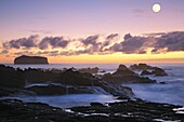 Seascape at sunset, near the parish of Mosteiros  Sao Miguel island, Azores islands, Portugal