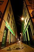 Night photo of narrow street in downtown Ponta Delgada  Azores islands, Portugal