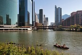 Canoeists along river in downtown Chicago