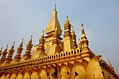 Architecture, Asia, Buddhism, Buddhist, Building, Clouds, Color, Colour, Gold, Golden, Historical, Laos, Monument, National, National Monument, Pagoda, Pha That Luang, Religion, Sky, South-east asia, Symbol, Tourism, Travel, X9J-999645, agefotostock