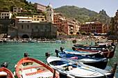 Boot, Boote, Cinque, Fischerei, Hafen, Italien, Liguria, Ligurien, Meer, Schiff, Terre, Vernazza, Wasser, XG3-943445, agefotostock