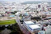 Aerial view of the Berliner Cathedral and Unter den Linden area from the TV Tower of Berlin, Germany  Tilted lens used for a shallower depth of field and to create, combined with the aerial view, a miniaturization effect