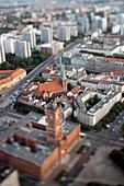 Aerial view from the TV Tower of the City Hall and Nikolaikirche focus on the Nikolaikirche, Berlin, Germany  Tilted lens used for a shallower depth of field and to create, combined with the aerial view, a miniaturization effect