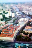 Aerial view from the TV Tower of Berlin Mitte, with the focus on the Franziskaner-Klosterkirche ruins and Littenstrasse, Germany  Tilted lens used for a shallower depth of field and to create, combined with the aerial view, a miniaturization effect