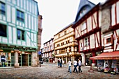 Henry IV square, town of Vannes, departament de Morbihan, Brittany, France  Tilted lens used for shallower depth of field
