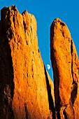 Moonrise at the Tower of Babel rock formation at The Garden of the Gods in Colorado Springs, Colorado  The Garden of the Gods was originally a gift to the citizens of Colorado Springs by the family of local landowner Charles Elliott Perkins in 1909, who s