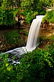 53 foot tall Minnehaha falls on Minnehaha Creek  The translation of the name is ´curling water´ or ´waterfall´  The name comes from the Dakota language elements mni, meaning water, and haha, meaning waterfall