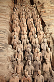 Archaeology, Army, Art, Arts, Asia, China, Color, Colour, From above, Historic, Historical, History, indoor, indoors, interior, Line, Lines, Many, Mausoleum, Mausoleums, power, Row, Rows, Sculpture, Sculptures, Selective focus, Shaanxi, Shanxi, Shensi, Si