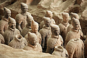 Archaeology, Army, Art, Arts, Asia, China, Color, Colour, Historic, Historical, History, Horizontal, indoor, indoors, interior, Line, Lines, Many, Mausoleum, Mausoleums, power, Row, Rows, Sculpture, Sculptures, Shaanxi, Shanxi, Shensi, Sian, Soldier, Sold