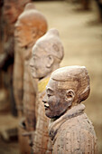 Archaeology, Army, Art, Arts, Asia, China, Color, Colour, Head, Heads, Historic, Historical, History, indoor, indoors, interior, Line, Lines, Mausoleum, Mausoleums, power, Row, Rows, Sculpture, Sculptures, Selective focus, Shaanxi, Shanxi, Shensi, Sian, S