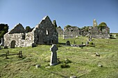 the three loughinisland churches mccartans chapel 17th century south left  the middle 13th century right and 15th century north back county down northern ireland