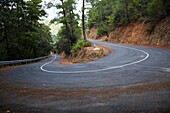 twisty hairpin bend in a mountain road in the troodos mountains forest republic of cyprus