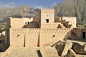 historic adobe fortification Nakhal, Nakhl Fort or Castle, Hajar al Gharbi Mountains, Batinah Region, Sultanate of Oman, Arabia, Middle East