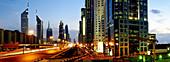 Skyscrapers, multistory buildings along Sheikh Zayed Road, Al Satwa, Emirate Dubai, United Arab Emirates, UAE, Arabia, Middle East, West Asia