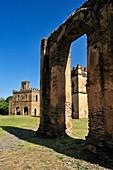 view towards Fasiladas Archive, Royal Enclosure Fasil Ghebbi, UNESCO World Heritage Site, Gonder, Gondar, Amhara, Ethiopia, Africa